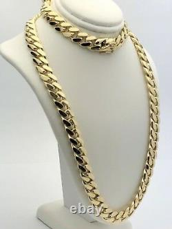 Men's 10k Yellow Gold Solid Heavy Miami Cuban Chain Necklace 22 10.4mm 164g