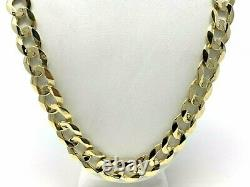 Men's 14k Yellow Gold Solid Flat Cuban Chain Link Necklace 22 11.5mm 61 grams