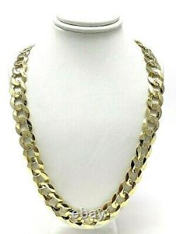 Men's 14k Yellow Gold Solid Flat Cuban Chain Link Necklace 24 11.5mm 66 grams