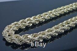 Men's Real 10k Yellow Gold Rope Chain Necklace, 6mm, 20, NEW cuban, link, Franco N