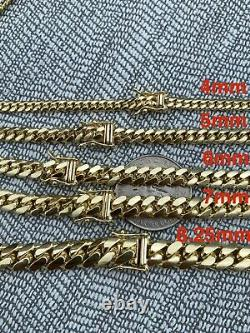 Men's Solid 10k Yellow Gold Miami Cuban Link Chain Or Bracelet Box Lock Necklace