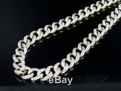 Mens 10K Yellow Gold Miami Cuban Link 7 MM Diamond Chain Necklace 6.6 ct 31 Inch