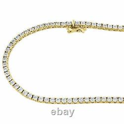 Mens 10K Yellow Gold Over Necklace Single Diamond Tennis Link 16 Choker Chain