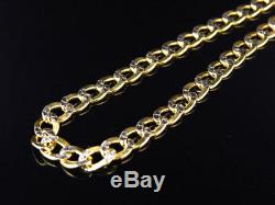 Mens 10k Yellow Gold Diamond Cut Curb Cuban Chain Necklace 4.5 mm 18-30 Inches