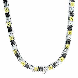 Mens 14K White Gold Over Round Cut Diamond 1 Row Necklace Chain 26 5MM 12Ct