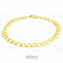 Mens 14K Yellow Gold 6.5mm Curb Cuban LInk Chain Bracelet Lobster Clasp 8.5