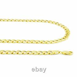 Mens 14K Yellow Gold 6.5mm Mens Curb Cuban LInk Chain Bracelet Lobster Clasp 8