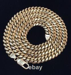 Mens 14k Yellow Gold Cuban Link 7M Figaro Solid Heavy Chain 24 Necklace 91 Gram