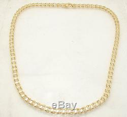 Mens 20 Italian Railroad Chain Necklace Lobster Clasp Real 14K Yellow Gold