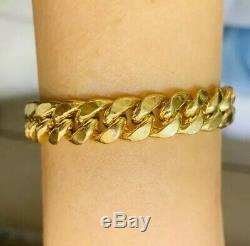 Mens Heavy 18k Solid Yellow Gold Flat Cuban Link Bracelet 9.25Inches27.15GM