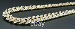 Mens Round Cut VVS1 5Ct Diamond Cuban Link Chain 20 In 14K Yellow Gold Over