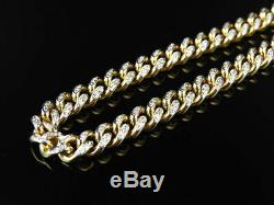 Mens Solid 14K Yellow Gold Miami Cuban Link 6.2 MM Diamond Chain Necklace 5 ct