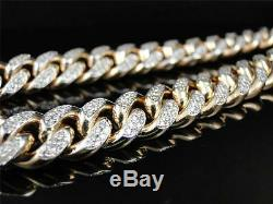 Mens Solid Yellow Gold Miami Cuban Genuine 12 MM Diamond Chain Necklace 22.5 Ct