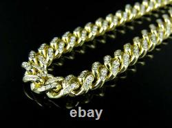 Mens Solid Yellow Gold Miami Cuban Link 7.5 MM Real Diamond Chain Necklace 7 ct