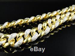 Mens Yellow Gold FInish Miami Cuban Link 11 MM Real Diamond Chain Necklace 8 ct