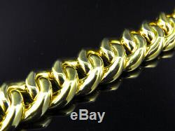 Mens Yellow Gold Finished Sterling Silver Miami Cuban Franco Bracelet (13.12MM)