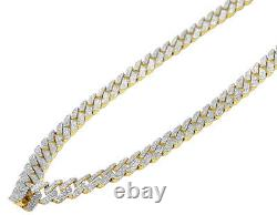 Mens Yellow Gold Honeycomb Real Diamond Miami Cuban Necklace 10 MM 12.5 CT