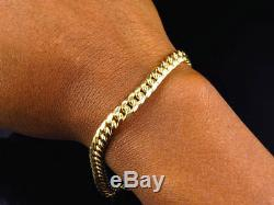 New Mens 10K Yellow Gold Handmade Hollow Miami Cuban Link Bracelet (6MM) 8