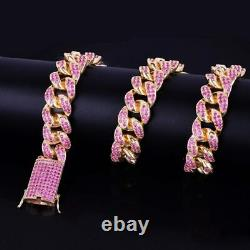 Pink Sapphire Miami Cuban Chain Mens Sterling Silver 14k Yellow Gold Over