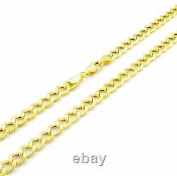 REAL 10K Yellow Gold 5.5MM Wide GENUINE Mens Curb Cuban Link Chain Bracelet 9