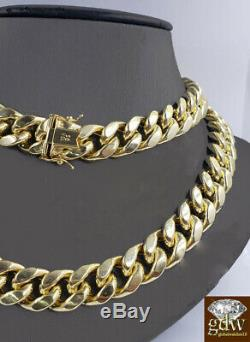 REAL 10k Gold Cuban Chain Necklace, Yelllow G. 15mm 24 Inch Box Clasp, link, Mens