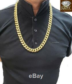 REAL 10k Gold Cuban Chain Necklace, Yelllow G. 15mm 30 Inch Box Clasp, link, Mens