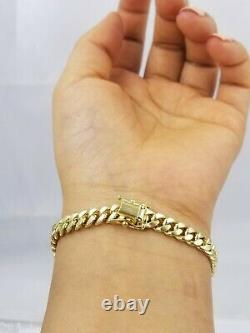 REAL 10k Gold Miami Cuban Bracelet 7 6mm 10 kt Yellow Gold Strong Links LADIES