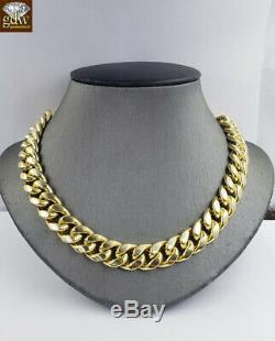 REAL 10k Yellow Gold Miami Cuban Link Chain Mens Necklace 13mm 22 Inch Box Clasp