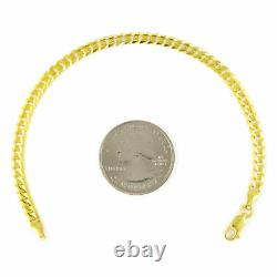 REAL 14K Pure Yellow Gold 3.5MM Womens 7.5in Cuban Link Curb Chain Bracelet 7.5