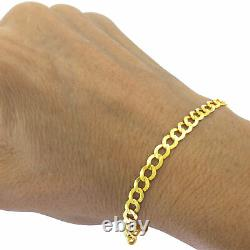 REAL 14K Yellow Gold 5.5MM 8in Link Curb Cuban Chain Bracelet Lobster Clasp 8