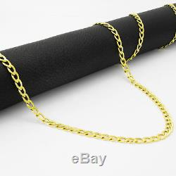 REAL 14K Yellow Gold Pure 3.5MM 22in Cuban Curb Link Chain Pendant Necklace- 22