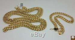 REAL 14k Gold Bracelet Miami Cuban 7mm 8 Inch Men Safety Box Clasp Link Rope