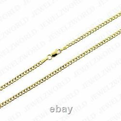 Real 10K Solid Yellow Gold 2.5mm Cuban Link Chain Necklace 16- 24 Curb Chain