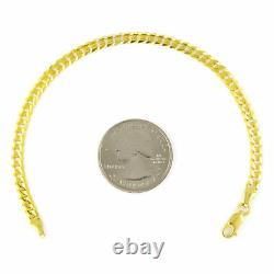 Real 10K Yellow Gold 4MM SOLID Cuban Link Curb Chain Bracelet Lobster Clasp 9