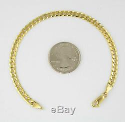 Real 10K Yellow Gold 5.5mm Italy Curb Cuban Chain Link Bracelet Lobster Clasp 8