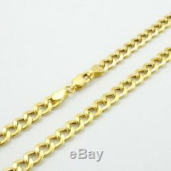 Real 10K Yellow Gold 6.5mm Cuban Curb Chain Link Bracelet Lobster Clasp 7 8 9
