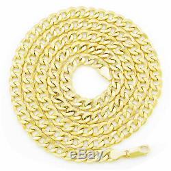 Real 10K Yellow Gold Italian Link 7.5mm Wide Cuban Curb Chain Necklace 20- 30