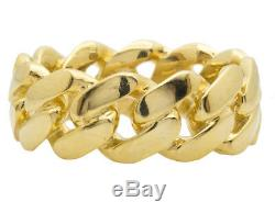 Real 10K Yellow Gold Men's Ladies Solid Miami Cuban Link Ring Band 9mm