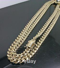 Real 10K Yellow Gold Men's Miami Cuban Chain With Box Lock 24 inch Long 7mm