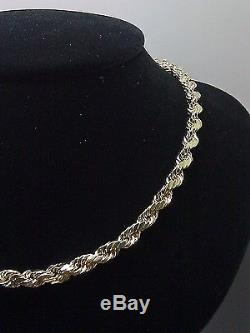 Real 10K Yellow Gold Men's Rope Chain Necklace, 22 Inch 5mm cuban, Franco, palm N