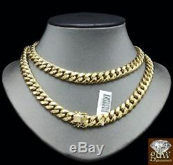 Real 10K Yellow Gold Miami Cuban Chain 9mm 20 Inch, Box/Lobster Clasp, Strong N