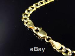 Real 10K Yellow Gold Solid Diamond Cut Cuban Link Chain Necklace 18-30 (4.5MM)