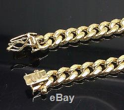 Real 10k Gold 8mm Miami Cuban Chain Necklace, Box Lock Clasp 30 Men, Rope Link N