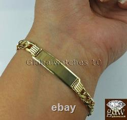 Real 10k Men Yellow Gold 8 Inch Miami Cuban Link ID Bracelet Lobster Clasp