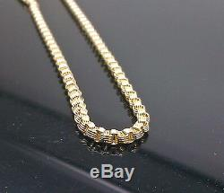 Real 10k Yellow Gold Byzantine Chain Necklace, Men's 20 Inch 3-4mm, Rope, cuban N