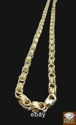 Real 10k Yellow Gold Byzantine chino Chain Necklace 26 inch 6mm, Cuban, rope N