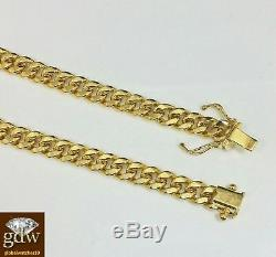Real 10k Yellow Gold Cuban Bracelet 6mm 7 Box Clasp Strong link Mens Ladies