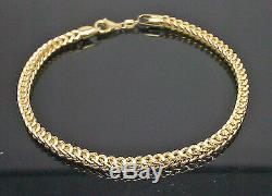 Real 10k Yellow Gold Franco Ladies Women Bracelet 8 Inch 3.5mm, Rope, Cuban, Gift
