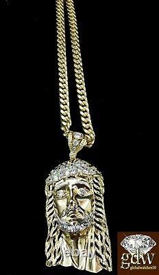 Real 10k Yellow Gold Men's Jesus Head Charm with 26 Inch Long Miami Cuban Chain