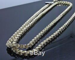 Real 10k Yellow Gold Mens' Byzantine Box Chain Necklace, 32 Inch, Rope, Cuban N